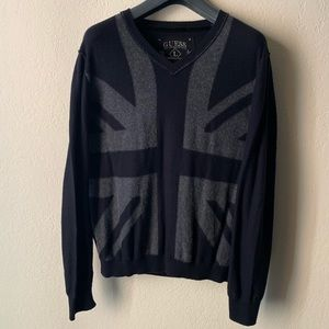 Guess Grey and Black British Flag Design Sweater